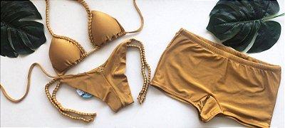 Kit Ela & Ele Biquíni Cortininha Tranças Dourado & Sunga Adulto Cod: BCTS267 - Ler á Descrição