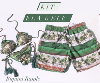 Kit Biquini Ripple + Bermuda Masculina Mesma Estampa cod:BRB10 Ler a Descrição !