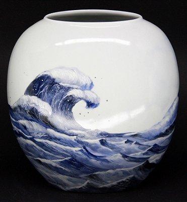 VASO SÉRIE THE GREAT WAVE 01 (PORCELANA - 31 x 20 CM)