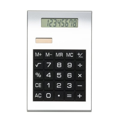 Calculadora plástica prata de 8 dígitos com detalhes preto. Código SK 2732