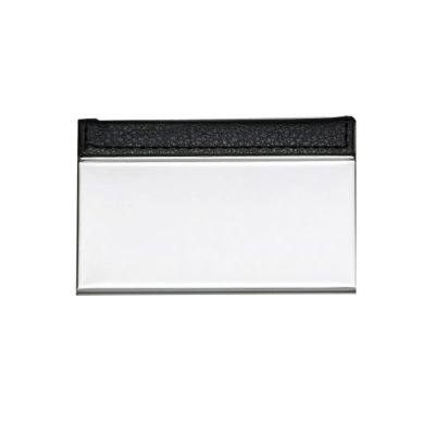 Porta cartão de metal com couro sintético. Couro com textura e costura. Código SK 8848