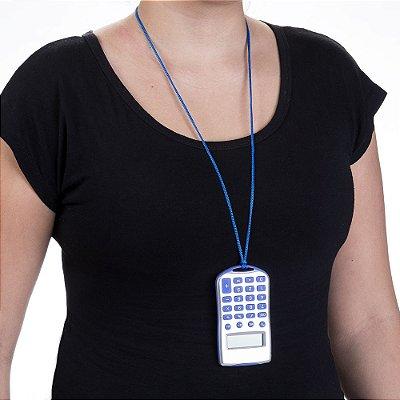 Calculadora com cordão de 8 dígitos prata para brindes. Código: SK1648