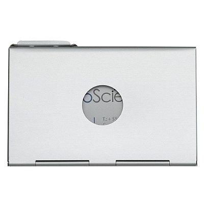 Porta cartão de alumínio, design da abertura em diagonal. Código SK 4229