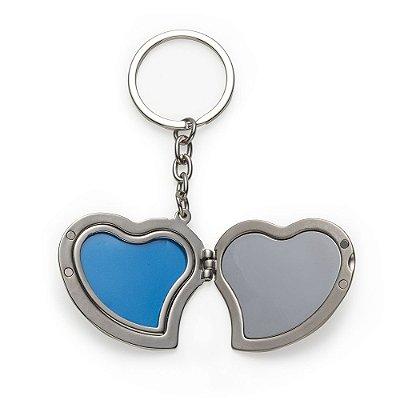 Chaveiro metal porta foto coração parte externa frontal brilhante. Código SK 13027