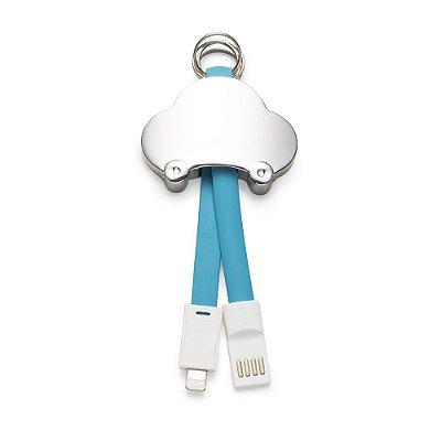 Chaveiro metal cabo de dados Iphone. Possui quatro argolas,borracha azul. Código SK 13214