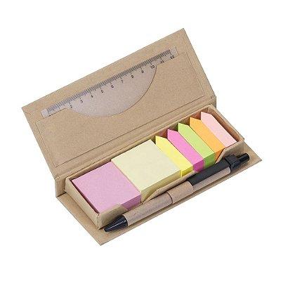 Bloco de anotações ecológico com régua e caneta e  Bloco retangular. Código: SK 12168