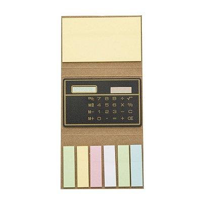 Bloquinho de notas com calculadora solar e conjunto de post-it. Código: SK 1600
