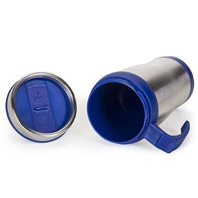 Caneca de  inox 400 ml com pegador  plástico colorido. Código: 12582