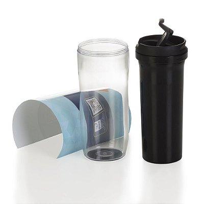 Copo plástico 350ml porta foto possui tampa plástica  p/ abrir/fechar . Código SK 12777