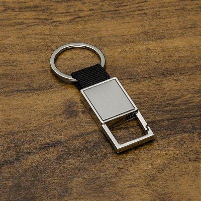 Chaveiro de metal com mosquetão(sem trava), chapa central em inox . Código: SK 12195