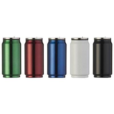 Squeeze de metal 275 ml em formato de latinha de cor brilhante. Código SK 5618B