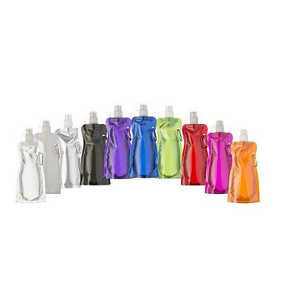 Squeeze dobrável de plástico de 480 ml com mosquetão para brindes. SK 12459