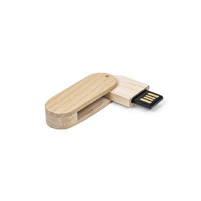 Pen Drive 4GB giratório oval de bambu, frente e verso lisos,ecológico. Código SK 033-4GB