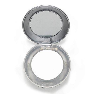 Espelho plástico redondo duplo com aumento e com luz. Código SK 1828