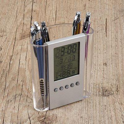Porta caneta acrílico com relógio plástico LCD(pode ser removido). Código SK BK62