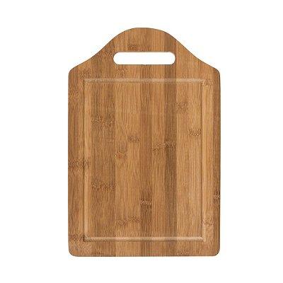 Tábua grande de bambu para corte com canaleta e pegador. SK 13270