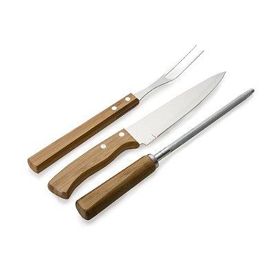 Kit churrasco 3 peças em madeira. Contém amolador de faca. Código SK 13313
