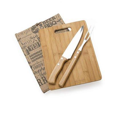 Kit churrasco 3 peças em madeira. SK 13315