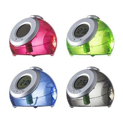 Relógio digital movido à água, material plástico inteiro colorido. Código SK 13185