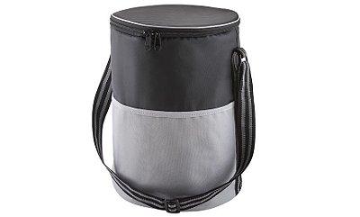 Bolsa Térmica Tecido nylon 420 e poliéster 600 (preto com cinza). SKBT300