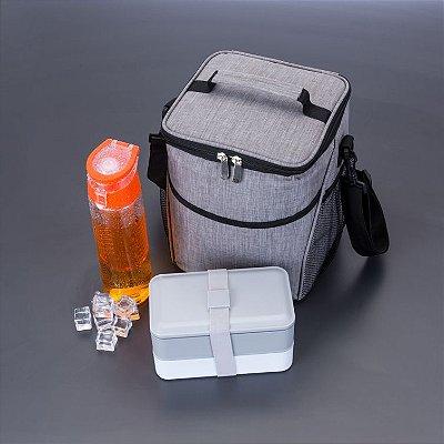Bolsa Térmica  Tecido Nylon Poliéster (Cinza) . Cód. SKBT301