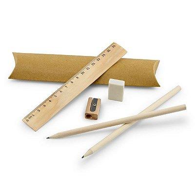 Kit de escrita. Incluso régua de 16 cm, 2 lápis de grafite, 1 borracha e 1 apontador. Cód.SPCG91932
