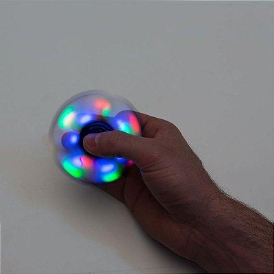 Spinner anti-stress colorido com anéis de led. Material plástico com pintura metalizada. cÓD.sk2061