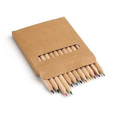 Caixa de cartão com 12 lápis de cor. 90 x 90 x 9 mm. Cód.SPCG91747