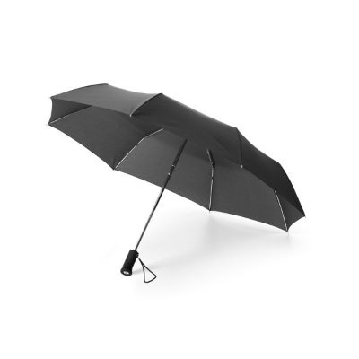 Guarda-chuva dobrável. Poliéster. Dobrável em 3 seções. Com lanterna na pega (pilhas inclusas). Cód.SPCG39000