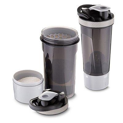 Garrafa coqueteleira plástica 720ml com copo, misturador e peneira SKGA 5000.