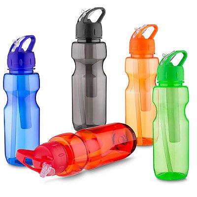 Garrafa plástica 700 ml com porta gelo e canudo plástico  SKGA 5300.