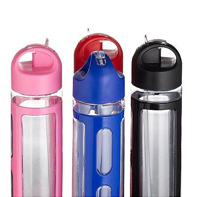 Squeeze 700ml de plástico com bico de canudo, com tampa rosqueável e detalhes coloridos. SK14055