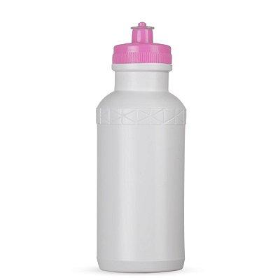 Squeeze 500 ml de plástico resistente de corpo branco e tampa colorida, de bico (silicone) SK09072 bco