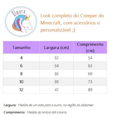 Look inspirado no Creeper do Minecraft  - QUIMERA KIDS