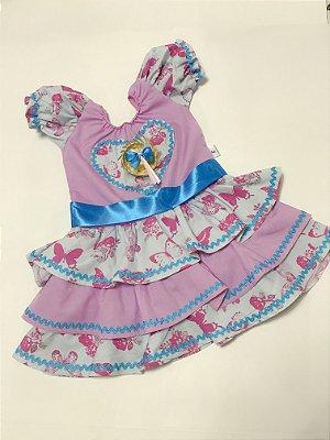 Vestido Caipira de Borboletas - Festa Junina - QUIMERA KIDS