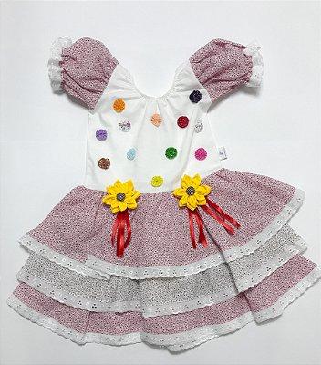 Vestido Caipira de Fuxico - Festa Junina - QUIMERA KIDS