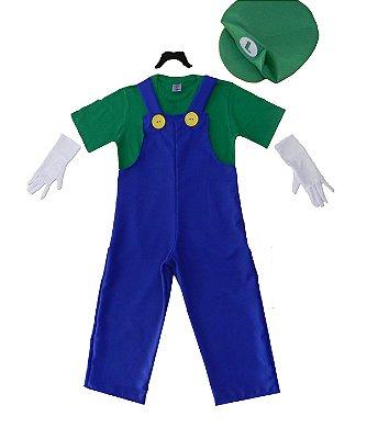 Look inspirado no Luigi Super Mário - Fantasia -QUIMERA KIDS