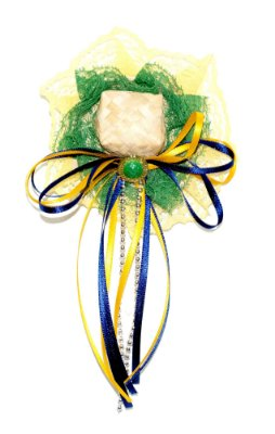 Tic tac BOLO DE MILHO: mini chapéu de palha verde e amarelo