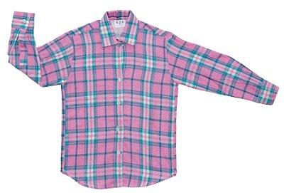 Camisa xadrez rosa e verde - Festa Junina