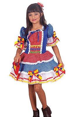 Vestido Caipira Poá Azul e Vermelho