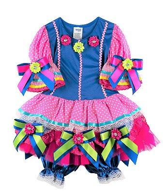 Vestido caipira azul e poá rosa - Festa Junina - QUIMERAKIDS