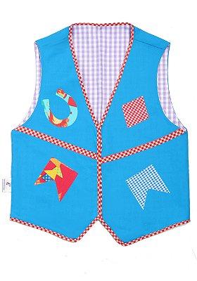 Colete azul com estampa diversa - Festa Junina - QUIMERA KIDS