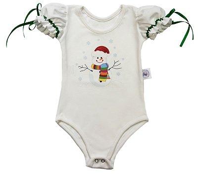 Body Boneco de Neve - Natal - Quimera Kids