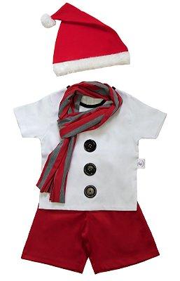 Look de Boneco de Neve Vermelho  - Natal - Quimera Kids