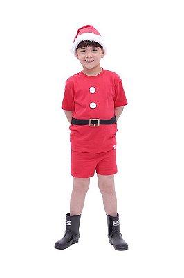 Conjunto Papai Noel - camiseta, shorts e gorro