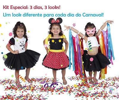 Kit 3 dias = 3 looks diferentes inspirados na Minnie, Panda e Fitas - Quimera Kids