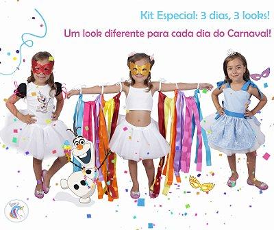 Kit 3 dias = 3 looks diferentes inspirados na Elsa, Olaf e Fitas - Quimera Kids