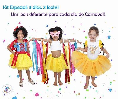 Kit 3 dias = 3 looks diferentes inspirados na Branca de Neve, Pikachu e Fitas - Quimera Kids