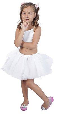 Saia de tutu curta branca - Quimera Kids