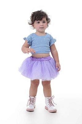 Saia de tutu lilás com brilho - Quimera Kids